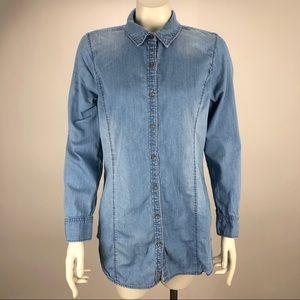 J. Jill Chambray 100% Cotton Button Shirt Blouse S